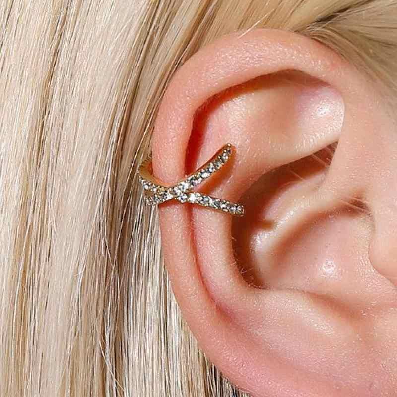 ジルコンクリップイヤリング幾何学的なイヤリング女性のためのクリスタルゴールドシルバー色出穂ジュエリーなし耳穴必要耳クリップ
