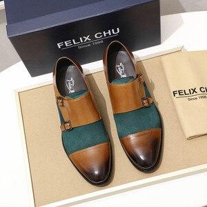 Image 3 - Masculino oxford sapatos de couro genuíno camurça sapatos casuais boné toe fivela dupla cinta monge clássico vestido sapatos verde marrom sapatos masculinos
