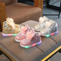 Fashion Baby Girls Shoes With Light Bow Toddler Children Shoes With Light Up Kids Illuminate Sneakers Size 21-30