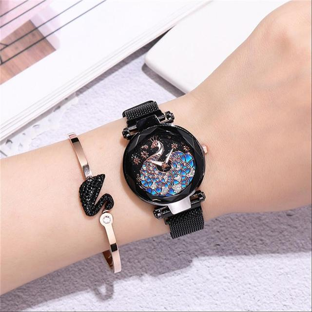 Luxury Women Watches Magnetic Peacock Female Clock Quartz Wristwatch Fashion Ladies Wrist Watch Reloj Mujer Relogio Feminino