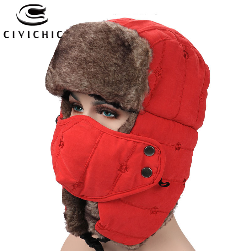 CIVICHIC Thick Outdoor Skullies Beanies Winter Women Men Fleece Warm Hat Mask 2 PCS Embroidery Headwear Faux Fur Wool Cap SH139