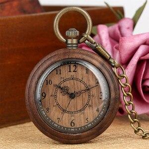 Image 4 - New Fashion 2019 Wooden Pocket Watch Full Wood Case Quartz Movement Antique Bronze Pendant Necklace Chains Gifts Men Women