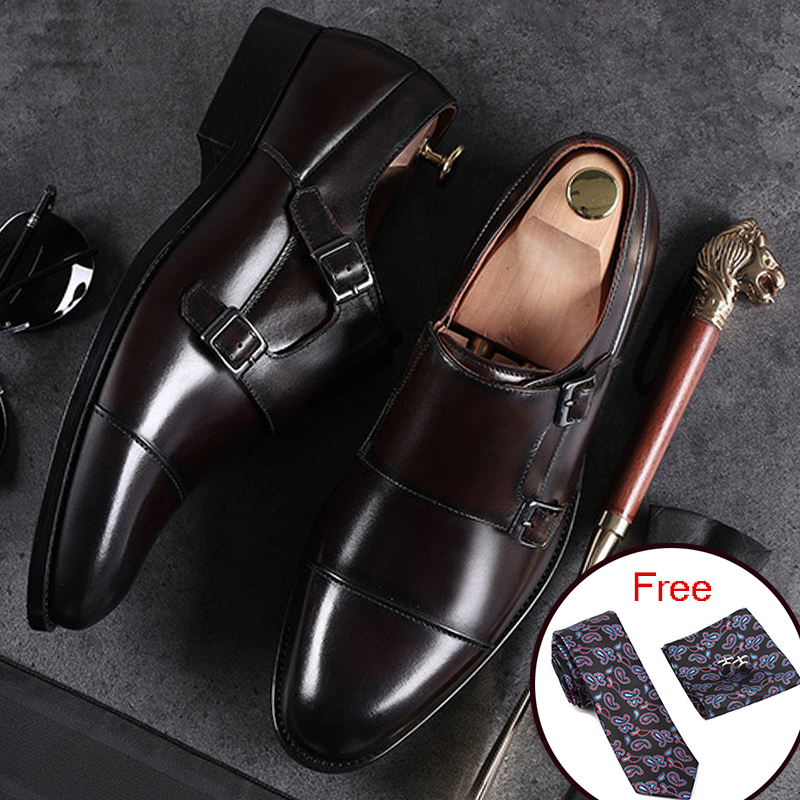 Men Genuine cow leather brogue wedding Business shoes mens casual flats shoes 2019 black vintage oxford men's monk shoes