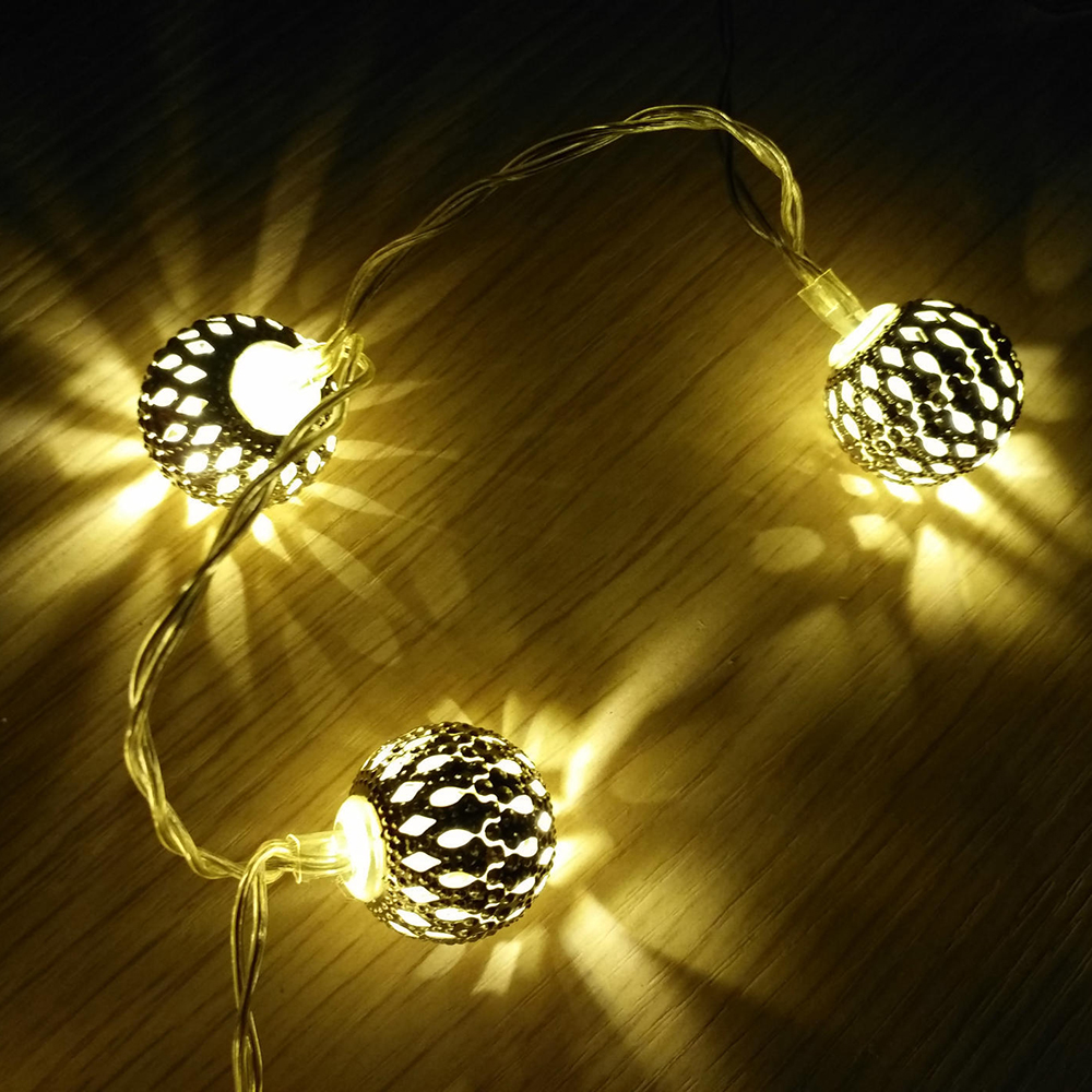 Round Ball Morocco Ball 20 LED Lights String Wedding Christmas Birthday Holiday Room Garden Decoration Lights (without Battery)