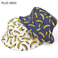 New Fruit Banana Fisherman Hat Men and Women Bucket Harajuku Bonnet White Navy Blue