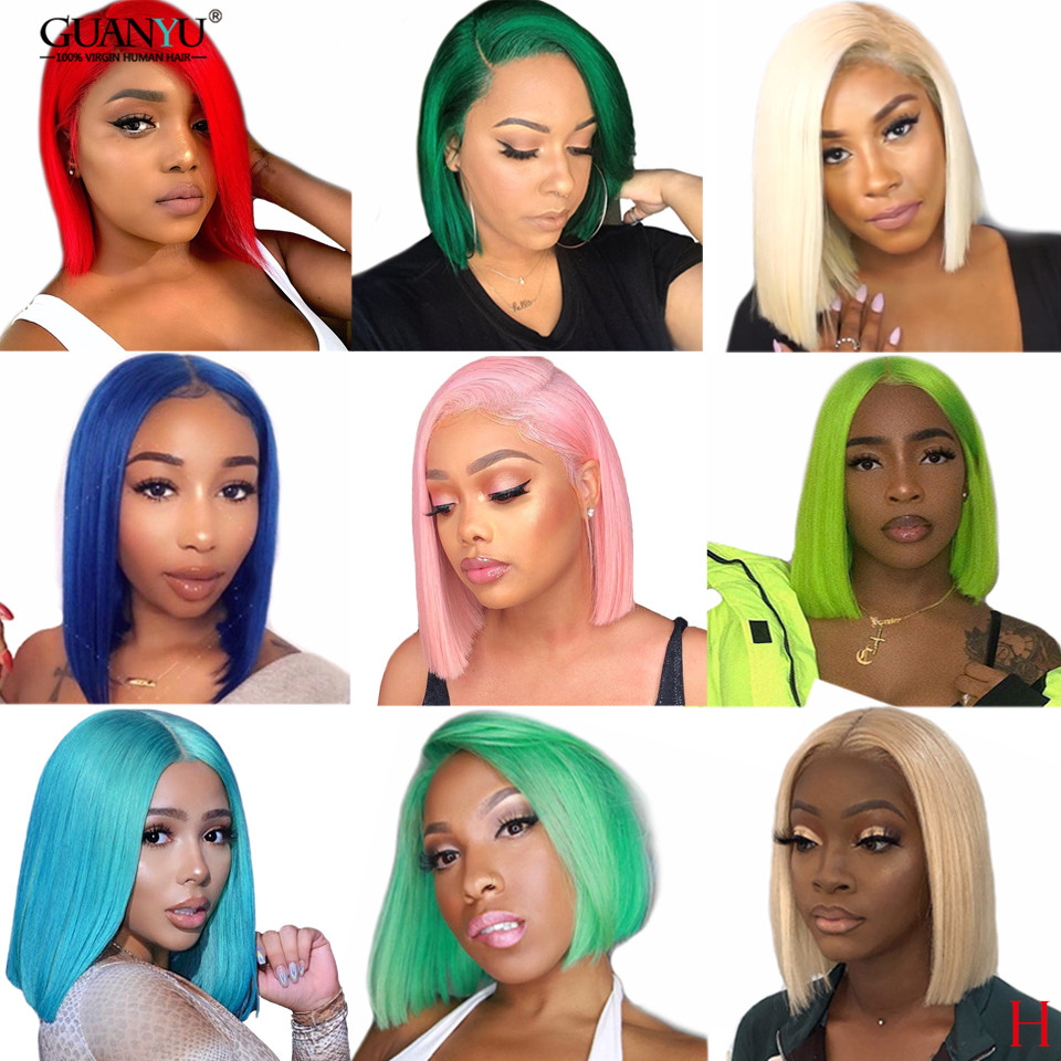 613 Blonde Bob Lace Front Wig Human Hair 13X6 Brazilian Remy Ombre Pink Red Blue Green Grey Short Blunt Cut Bob Wig For Women