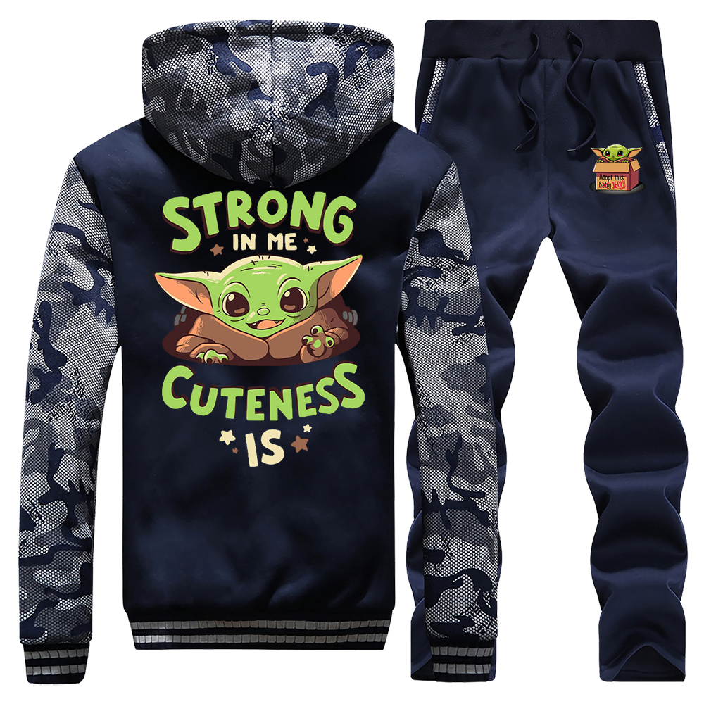 Star Wars Baby Yoda Men Set Tracksuit Thick Fleece The Mandalorian Hoodies Sweatshirt + Pants Cute Young Yoda Sportswear Suit