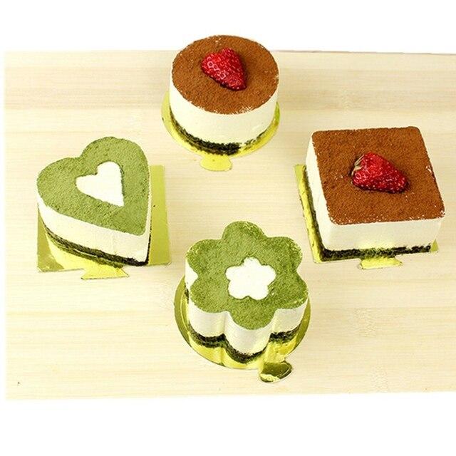 4 Vormige Rvs Mousse Cake Ring Mold Layer Slicer Cook Cutter Bakken Schimmel Gebak Gereedschap Pluizige Pannenkoek Salade Bakken tips
