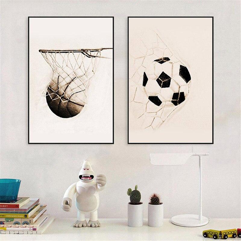 Настенная Роспись по футболу на холсте, американский Ретро плакат по футболу и баскетболу в скандинавском стиле, Современное украшение для ...
