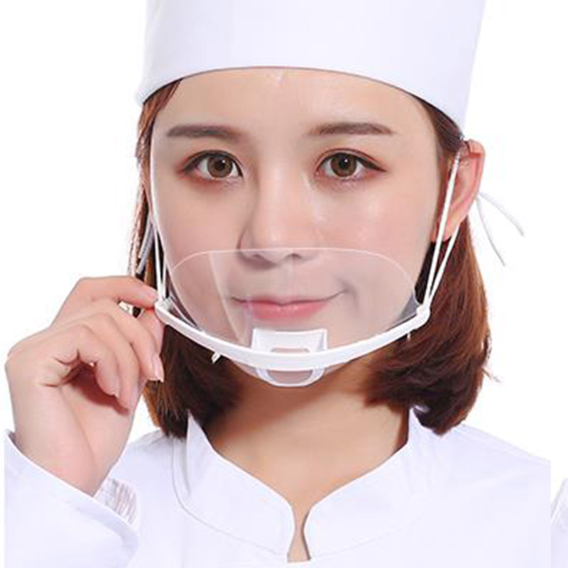 50Pcs Waterproof Transparent Masks Catering Food Hygiene Plastic Kitchen Restaurant Chef Face Pastry Mask Personal Protection