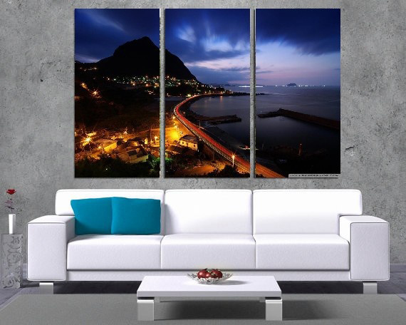 Modern Colorful Photo Picture City Room River Decor 3 Pcs Cities Canvas Art Painting Living Bedroom