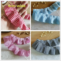 High Quality Plaid Ribbon Pleated Lace Fabric DIY Clothing Skirt Cradle Material Home Textile Sewing Pet Toy Doll Clothes Trim