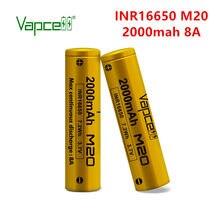 Frete grátis vapcell original inr 16650 2000mah 8a m20 recarregável li ion bateria de lítio baterias para lanterna elétrica ferramentas