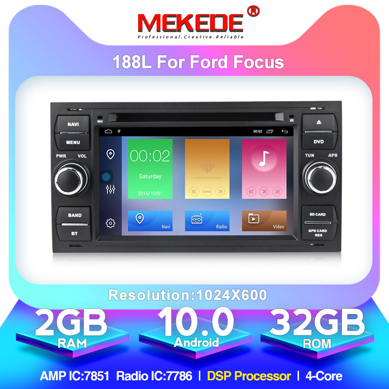 MEKEDE Android 10.0 Quad core 32G ROM Car DVD player <font><b>gps</b></font> for <font><b>Ford</b></font> Focus Kuga <font><b>Transit</b></font> Car rds view camera dvr obd2 image