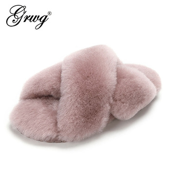 GRWG 100% Natural Sheepskin Fur Slippers Fashion Female Winter Slippers Women Warm Indoor Slippers Soft Wool Lady Home Shoes women slippers indoor shoes winter soft home slippers plush warm non slip fur shoes flat casual female