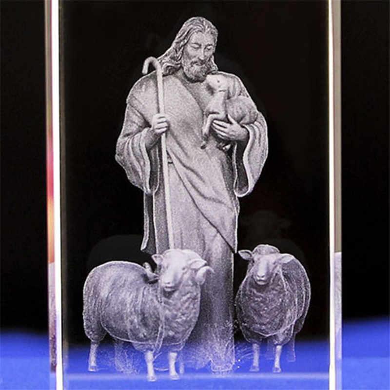 İsa 3D kazınmış kristal hediyeler kristal oyma masa el sanatları çapraz süsler İsa çoban katolik hediyelik eşya İsa serisi