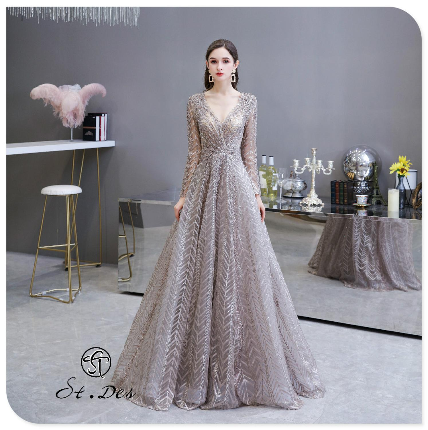 S.T.DES Evening Dress 2020 New Arrival V-neck A-line Lace Long Sleeve Floor Length Party Dress Dinner Gowns