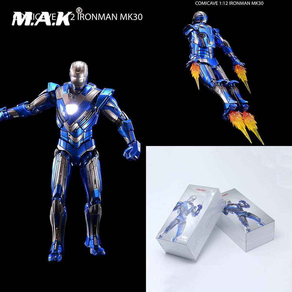 Figure-Model Fans Studios Iron Man In-Stock Light-Toys Metal Comicave Blue-Color 1/12-Scale