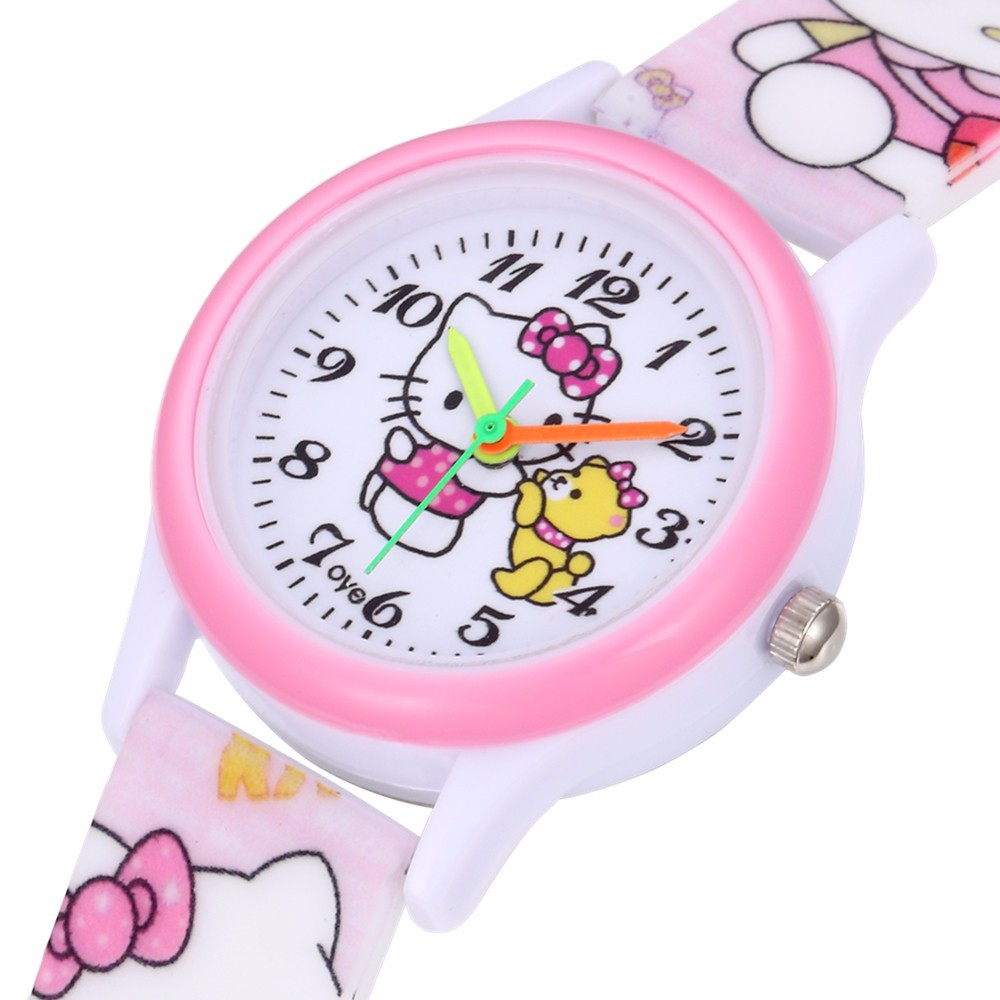 Hello Kitty Kids Watch Girls Watches Kids Waterproof Cute Silicone Quartz Clock Relogio Infantil Menina Montre Enfant