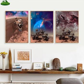 Ciekawość Rover odkrywanie powierzchni marsa płótno malarstwo wszechświat planeta ziemia księżyc edukacja plakat przedszkole sztuka ścienna tanie i dobre opinie Yumeart CN (pochodzenie) Płótno wydruki Pojedyncze Na płótnie Wodoodporny tusz Krajobraz Unframed Nowoczesne Malowanie natryskowe