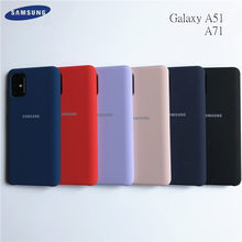 Samsung galaxy a51 capa de silicone líquido original, capa seda macia para galaxy a71, alta qualidade, macio, toque traseiro proteção de proteção