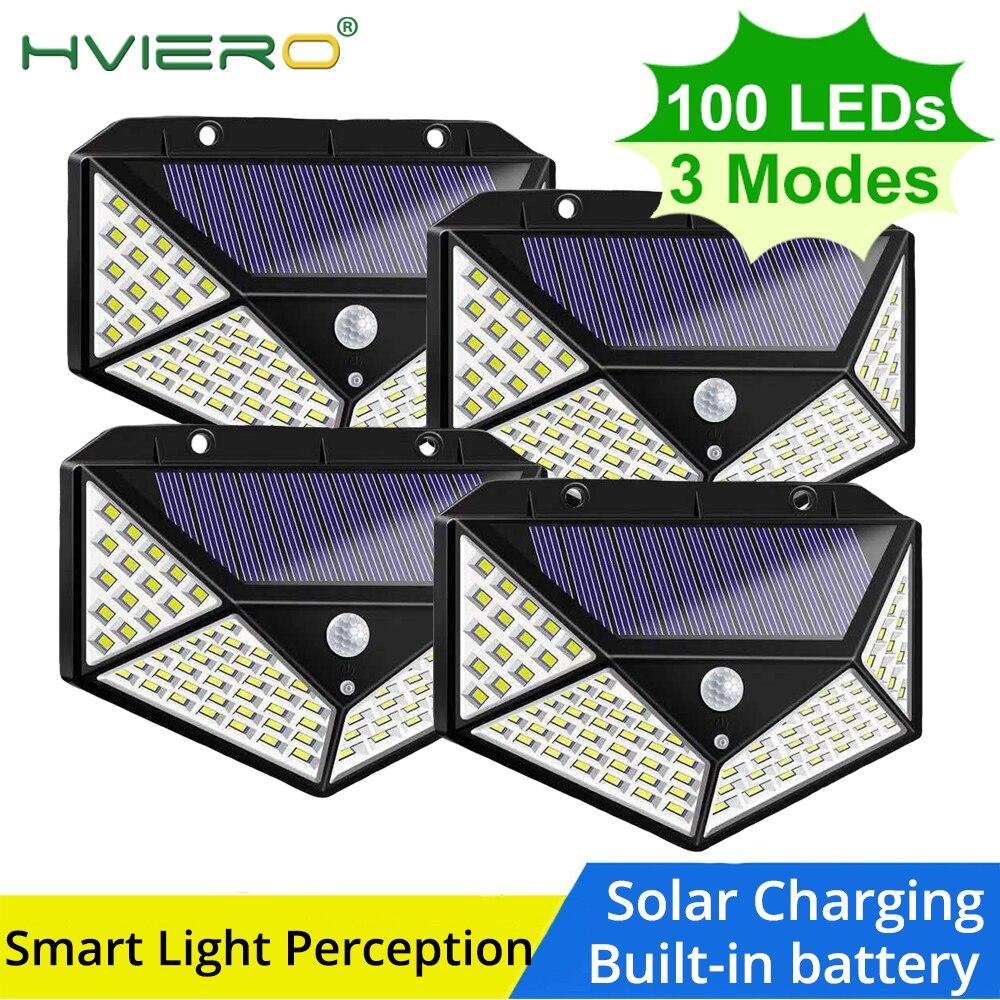100LED Solar Light Outdoor Solar Lamp Powered Sunlight Waterproof PIR Motion Sensor Street Light Wall Lamp Home Light Garden Led