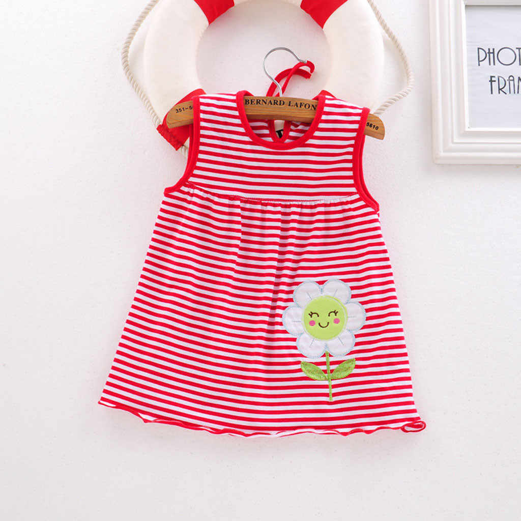 ARLONEE Toddler Cute Baby Cotton Flower Children Dot Striped Tees Dress T-Shirt Vest Baby Kids Girl Outfits Clothing #18