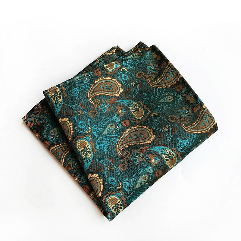 New 25*25CM Men Hanky Paisley Floral Jacquard Woven Luxury 100% Silk Pocket Square Handkerchief Business Suit Accessory Scarf