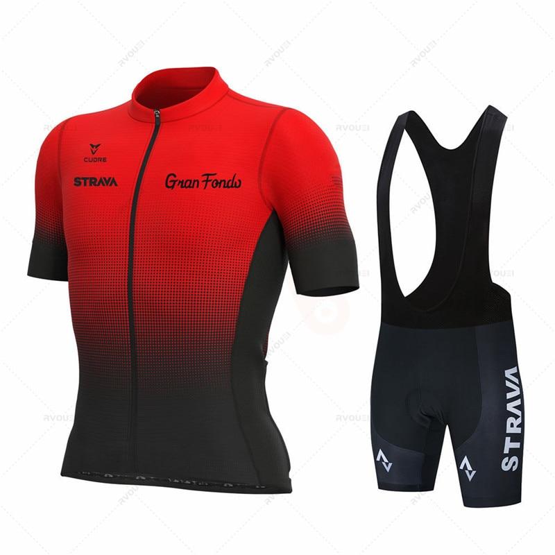 2021 Новый Strava команда с коротким рукавом рубашка мужские летние велосипедные шорты Комплект Одежда для велосипедной езды комплект одежды 19D ...