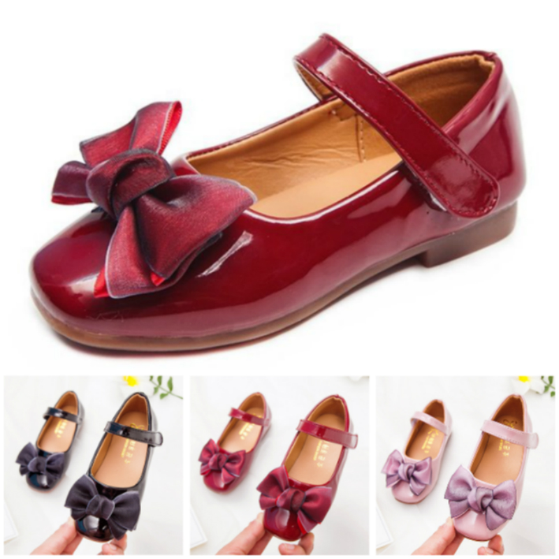 Shoes For Kids Leisure Baby Girls With Bow Knot Princess Shoes Patent Leather Children Shoes Black Wine Red European Size 26~36