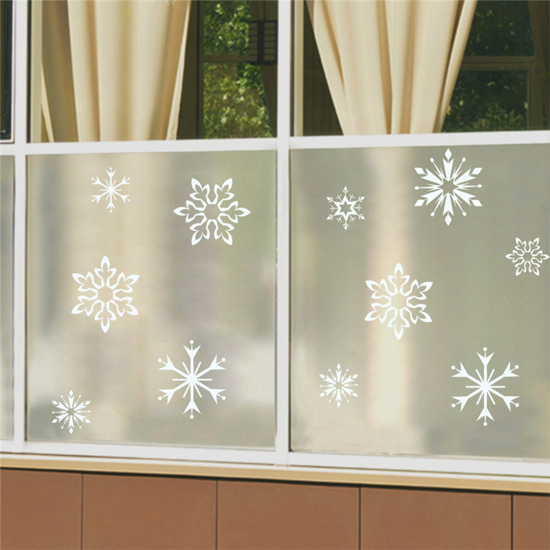 snow white snowflake wall stickers for kids shop window home decor merry christmas wall decals vinyl mural art diy wallpaper in Wall Stickers from Home Garden