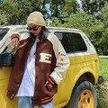 Бейсбольная униформа в стиле ретро для мужчин и женщин, уличная одежда оверсайз, стильная куртка из искусственной кожи в стиле Харадзюку, с ...