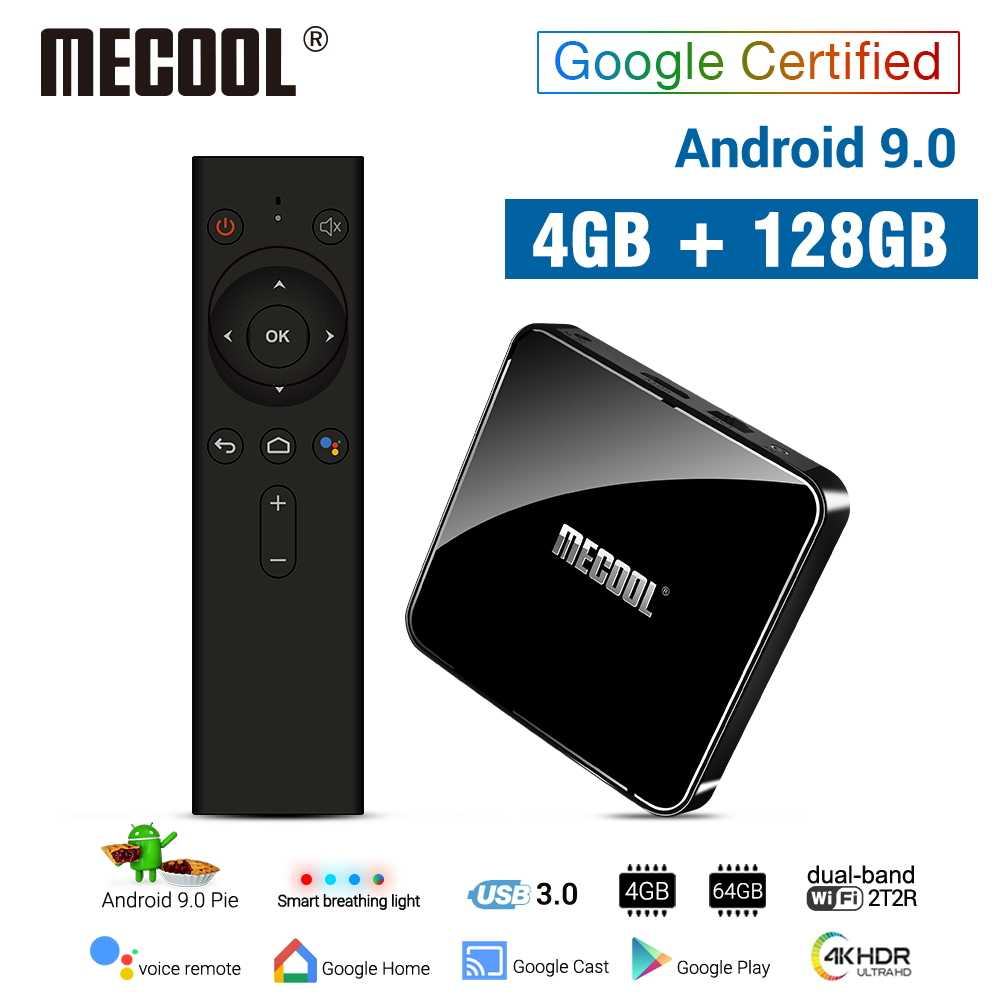 MECOOL 4G DDR4 128G 64G ROM KM3 Android 9.0 TV Box Amlogic S905X2 2.4G/5G WiFi 4K BT Voice Control Google Certified TV box