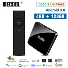 Mecool 4G DDR4 128G 64G ROM KM3 Android 9.0 TV Box Amlogic S905X2 2.4G/5G G WiFi 4K Bt Kontrol Suara Google Bersertifikat TV Box(China)