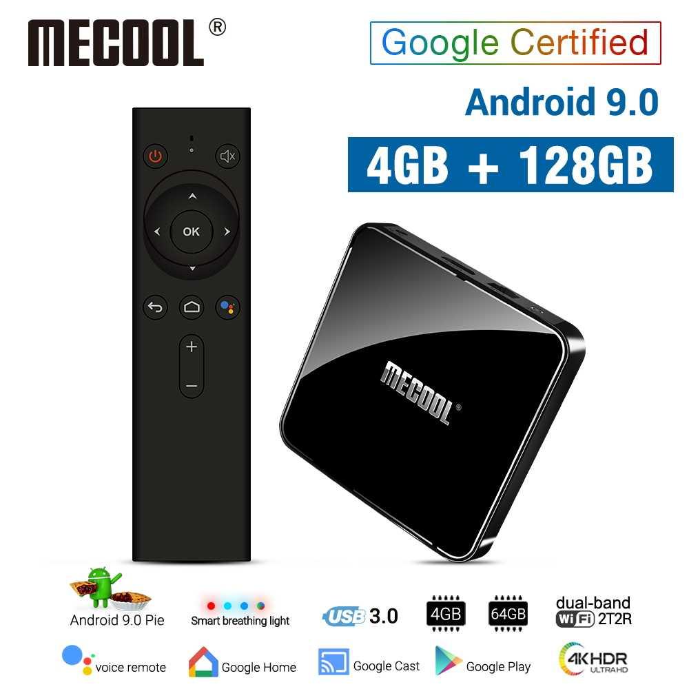 MECOOL 4G DDR4 128G 64G ROM KM3 Android 9.0 TV Box Amlogic S905X2 2.4G/5G WiFi 4K BT contrôle vocal Google certifié TV box