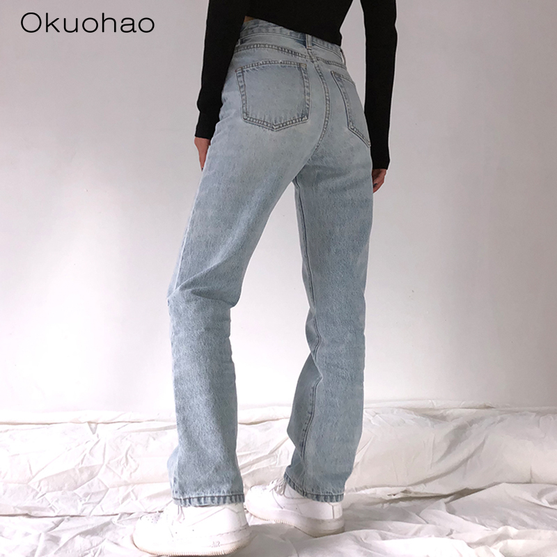 2020 High Waist Loose Comfortable Jeans For Women Plus Size Fashionable Casual Straight Pants Mom Jeans Washed Boyfriend Jeans