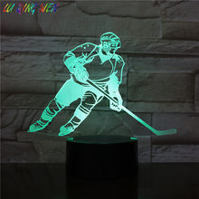 Kinderen Led Nachtlampje Ijshockey Player Action Figure Nachtlampje Kamer Decoratieve Lamp Jongens Slaapkamer Tafel 3d Night Lamp kids(China)