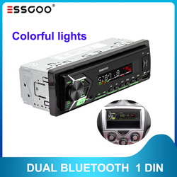 ESSGOO 1 DIN Radio RDS AM FM Car Stereo MP3 Player Dual Bluetooth USB SD AUX Head Unit Support Phone Charging 7 Colors Button