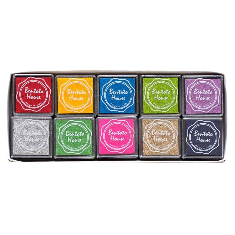HOT-Ink Stamp Pads Finger Ink Pads For Kids 20 Colors Craft Stamp Pad DIY Color For Rubber Stamps Paper ScrapbookingWood Fabric