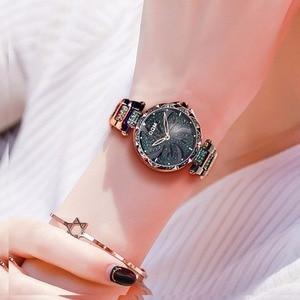 Image 4 - DOM Luxury Fashion Women Watches Lady Watch Stainless Steel Dress Women Bling Rhinestone Watch Quartz Wrist Watches G 1258BK 1MF