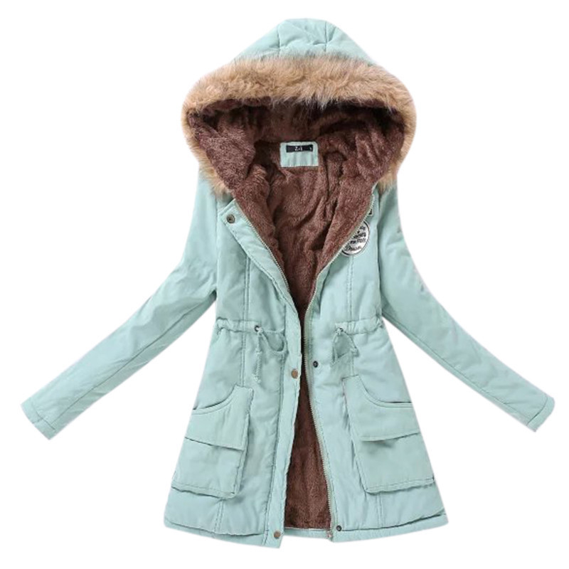 Winter Jacket Women Fur Collar Parkas Slim Zipper Parkas Wool Hat Belt Hoodie Thicken Winter Coat Outwear Long Female Snow Coat(China)