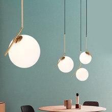 Lampe suspendue en forme de boule de verre au design moderne, luminaire décoratif d'intérieur, idéal pour un salon, une salle à manger, une chambre à coucher ou un Restaurant, AC85-240V