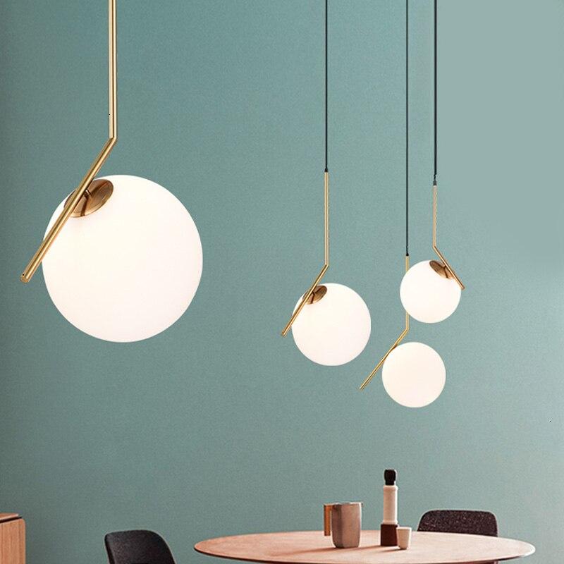 Moderne boule de verre pendentif lumières pour la maison salle à manger salon chambre à coucher accrocher lampe Restaurant décor luminaires éclairage AC85-240V