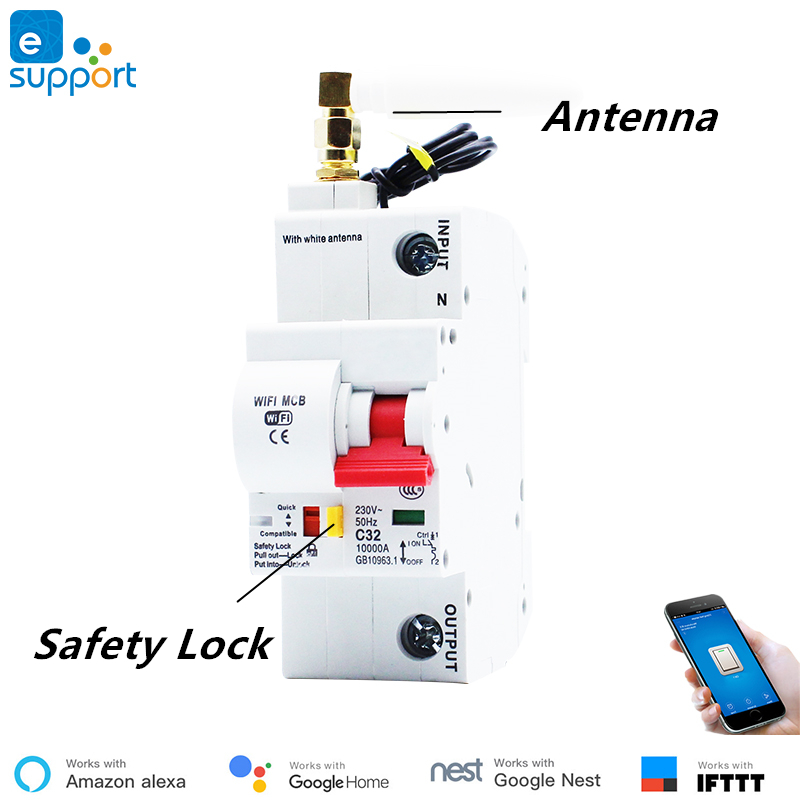 eWeLink WiFi 1P Smart Circuit Breaker for Smart Home , Overload Short Circuit Protection ,Work With Alexa and Google Home