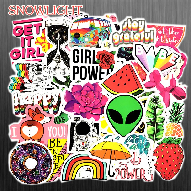 50pcs Lovely Girls Sunflower Fruit Animals Retro Travel Sticker DIY For Suitcase Luggage Laptop Skateboard Car Sticker