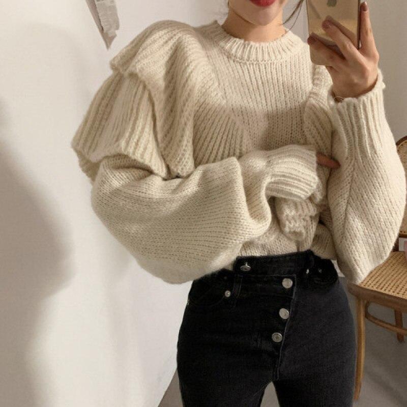 YAMDI koreański designerski sweter kobiet jesień zima 2020 o neck jednolita, szykowna moda luźne pollover gruba dzianina jumper kobiety wzburzyć