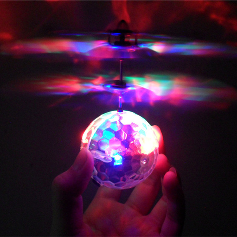 Ys Seven Color Light Crystal Ball Induction Vehicle Charging Airplane Drop-resistant Sensing Floating Ball Remote Control CHILDR
