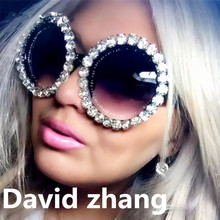 1143 new cross-border hot luxury round box rhinestone sunglasses colorful retro personality Joker