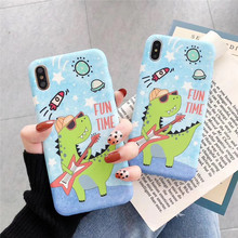 Liquid silicone cartoon little dinosaur phone case For iphone XS MAX XR X 6 6s 7 8plus anti-drop soft shell TPU back cover