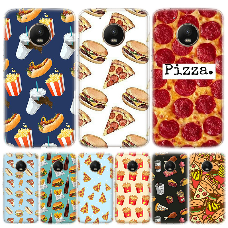 Cute Food French Fries Burger Pizza Phone Case For Motorola MOTO G8 G7 G6 G5 G5S G4 E6 E5 E4 Plus Play Power One Action Soft Sil
